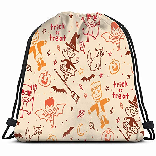 pattern trick treaters scattered funautumn holidays Special Backpack Sack Bag Gym Bag For Men & Women 17X14 -