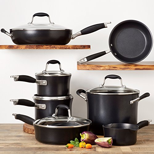 Anolon Advanced Onyx Hard-Anodized Nonstick Cookware Set with Bonus Tools, 11-Piece, Black