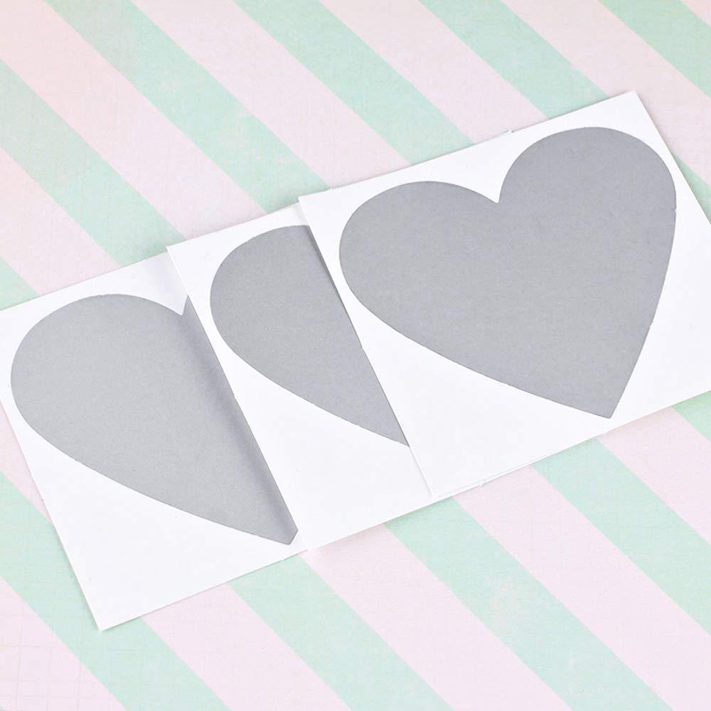 GLOBALDREAM Scratch off Sticker 80 Pezzi Gratta e Vinci Adesivo Rivestimento a Forma di Cuore Adesivi per Gratta e Vinci per Biglietti d Auguri Cartoline Message Game Gift