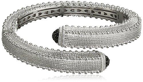 The Judith Ripka Companies, Inc Bracelet Manchette Acier Inoxydable Ronde Saphir Noir Femme