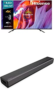 Hisense 50-Inch Class H8 Quantum Series Android 4K ULED Smart TV with Voice Remote (50H8G, 2020 Model) + Hisense 2.1 Channel Sound Bar Home Theater System with Bluetooth (Model HS214)