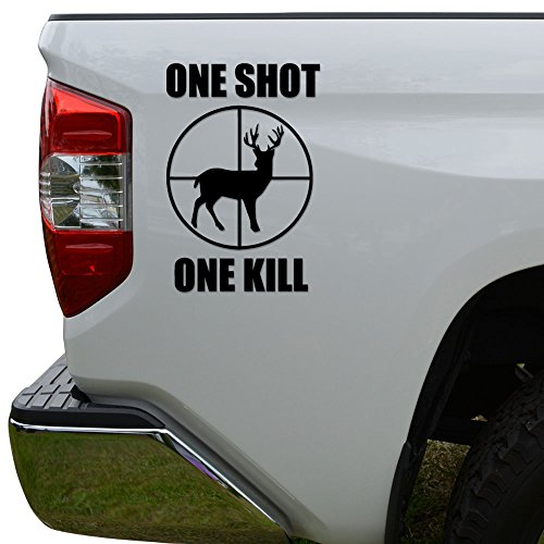 One Shot One Kill Deer Hunting Die Cut Vinyl Decal Sticker For Car Truck Motorcycle Window Bumper Wall Decor Size- [6 inch/15 cm] Tall Color- Matte White