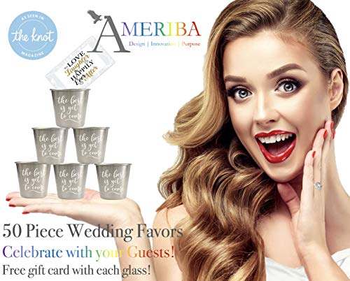 (Wedding Favors 50pc Bulk Set| Premium Stainless Steel 1.5oz | Groomsmen Shot Glasses, Bridesmaid Gifts for Weddings, Engagements, Bachelor/Bachelorette Parties | Designed by Ameriba, a USA)
