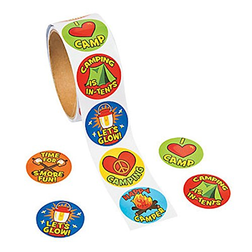 1 Roll ~ I Love Camp / Camping Stickers ~ 100 Round 1.5