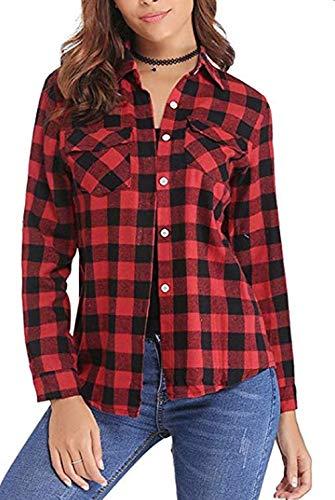 - A ANGG Women Button Down Plaid Shirts Casual Gingham Checkered Shirt Long Sleeve Blouse
