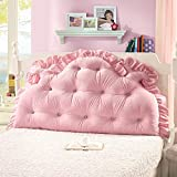 Vercart Sofa Bed Large Upholstered Headboard Filled Triangular Wedge Cushion Bed Backrest Positioning Support Pillow Reading Pillow Office Lumbar Pad with Removable Cover Pink 47x33 Inches