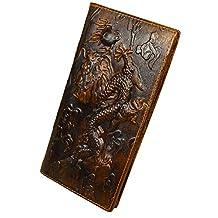 Men's Genuine Leather Long Wallet With Zipper Pocket Vintage Bifold Checkbook Purse
