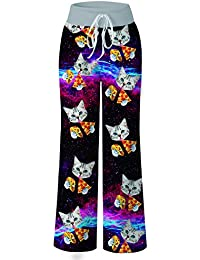 Women s Palazzo Pajama Pants Summer Casual Print Drawstring Wide Leg Lounge  Trousers 725eac963