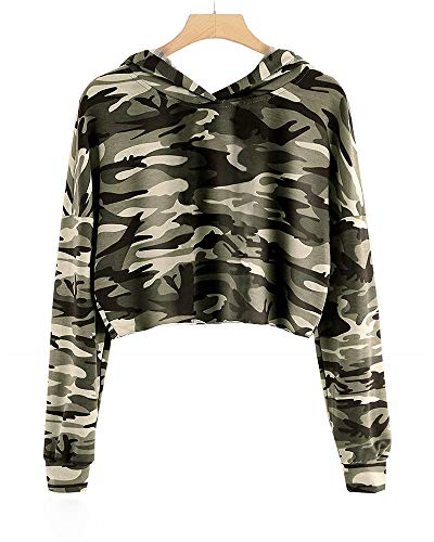 Imily Bela Kids Crop Tops Girls Hoodies Cute Plaid Long Sleeve Fashion Sweatshirts (10-12 Years/Height:55in, Z1-Camo)