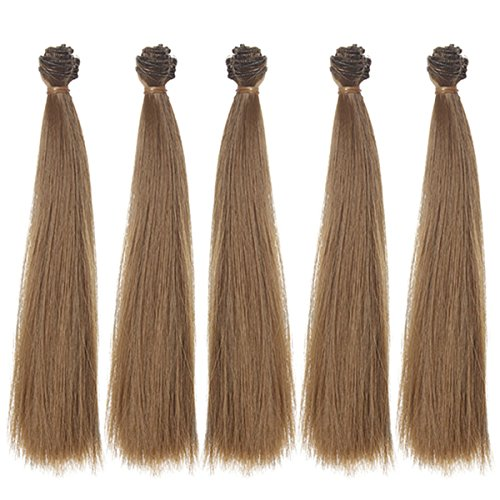 5pcs/lot 9.84''x 39.37'' Long Straight Synthetic Hair Brownness Hair Extensions for DIY BJD Blythe Pullip Doll's Wig Handcraft Materials