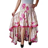 Womens Hi Low Skirt Vintage Recycled Sari Cherished Cheer Full Flare Tiered Ruffle Flirty Skirts S/M (Pink, Beige)