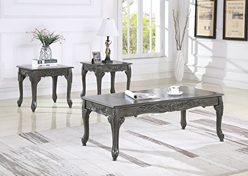 Roundhill Furniture OS0017GY 3 Piece Wood Coffee and End Table Set, Gray