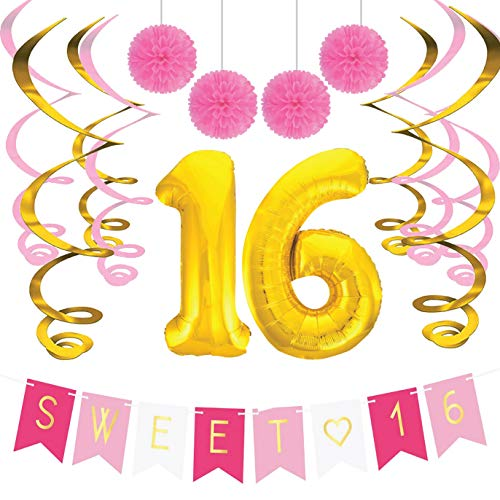 Sterling James Co. Sweet 16 Birthday Party Pack - Sweet Sixteen Decorations, Party Favors, Supplies, Gifts, Themes and Ideas - Milestone Happy Birthday Decorations -