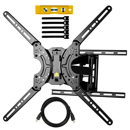 Full Motion TV Wall Mount Dual Swivel Articulating Tilt 6 Arms TV Bracket for 37-70″ LED, OLED, 4K Flat/Curved TVs with VESA Max 600x400mm-Holp Up to 132lbs by HY-Bracket