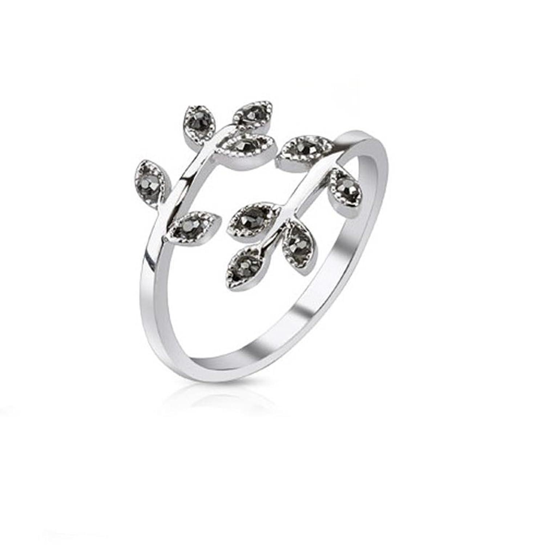 Paula  Fritz ajustable anillos negro hojas cuadrado claro cúbicos Circonita L