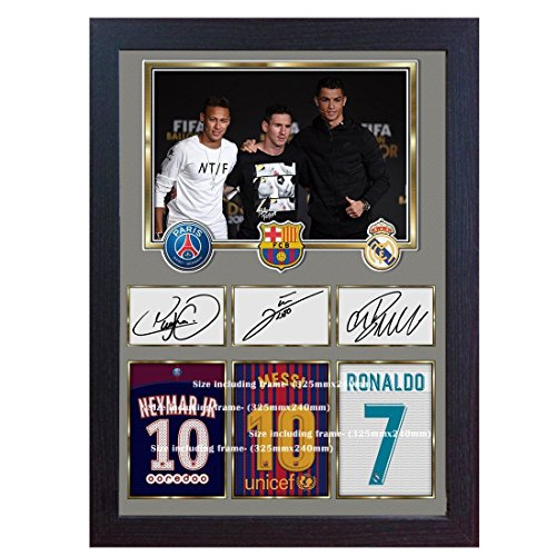 S&E DESING Neymar Messi Cristiano Ronaldo Signed Autograph Print Photo Picture Framed MDF