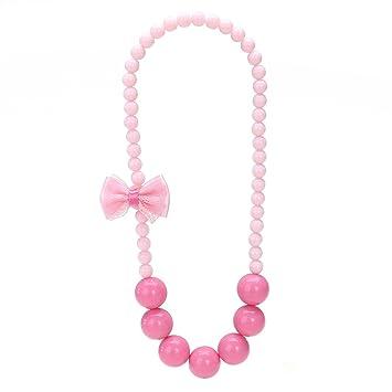 2d925aa89e52 OULII Collar encantador del collar del grano de las muchachas del caramelo  del Bowknot Colgante Colgante de la joyería de los cabritos (rojo de Rose)   ...