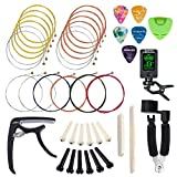 SUNYIN Guitar Strings, Replace Tool Kit,3 sets Acoustic Guitar Strings Picks Capo,String Winder,Bridge Pins,Pin Puller,Guitar Bones & Pick Holder For Beginner