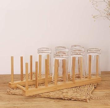 Estante para platos - Tazón de drenaje con utensilios de cocina de bambú y madera Estante