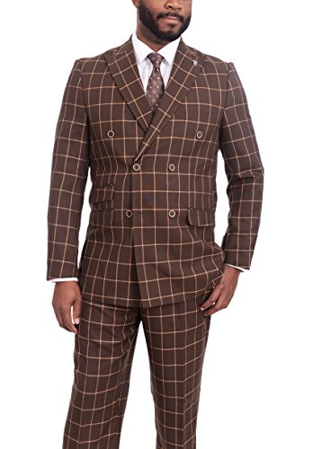STACY ADAMS Classic Fit Brown Windowpane 6-on-2 Double, used for sale  Delivered anywhere in USA