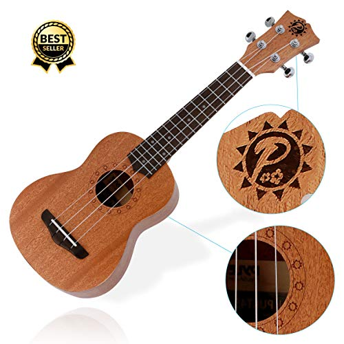 Pyle Mahogany Wood Soprano Ukulele - Solid Dark Brown Body & Neck, Black Walnut Fingerboard & Bridge - Standard 4 String Starter Hawaiian Uke Guitar Easy for Beginners to Learn & Play - PUKT45