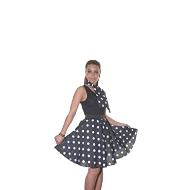 82f794985721 Ladies Black,RED,Pink Polka DOT Rock N ROLL Poodle Skirt 50's Fancy Dress UK  Size 8-14 (inch 18): Amazon.co.uk: Clothing