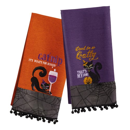 Grasslands Road Pretty Wicked Black Cat Tea Towel Set, Two Styles