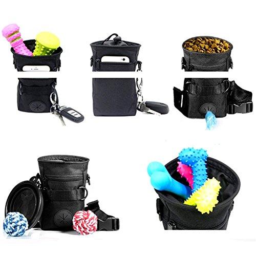 Mengshou Dog Treat Training Pouch Easily Carries Pet Toys, Keys, Treats,Kibbles,Built-In Poop Bag Dispenser,3 Ways To Wear Adjustable Shoulder Belt (Black) by Mengshou (Image #3)