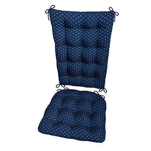 Barnett Products Rocking Chair Cushion Set - Tiffanie Brocade -Reversible - Latex Foam Filled Seat Pad and Back Rest - Diamond Pattern (Standard, Blue)