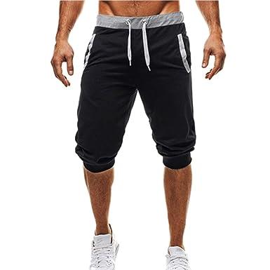 e6faaac9b64f43 GEMSeven Summer Men Leisure Knee Length Sport Shorts Patchwork Joggers Short  Sweatpants 1/2 Trousers