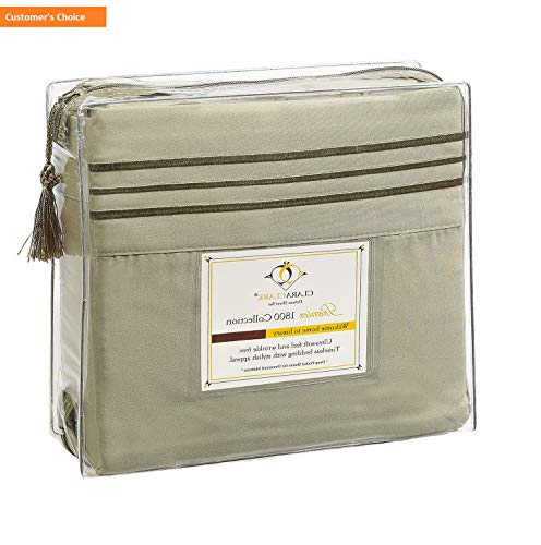 Mikash New Soft Premier 1800 Collection Deluxe Microfiber 3-Line Bed Sheet Set, Sage Green, Cal King Size | Style 84597486