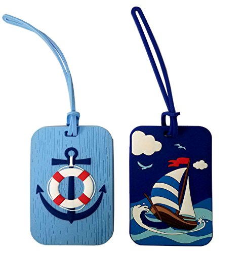 Nautical Anchor and Sail Boat Luggage Tags - Set of Two Beach Theme Luggage Tag