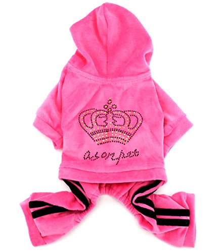 SMALLLEE_LUCKY_STORE Pet Clothes for Small Dog Cat Soft Velvet Crown Jumpsuit Coat Hooide Pajamas Tracksuit Pink M (Dog Tracksuit)