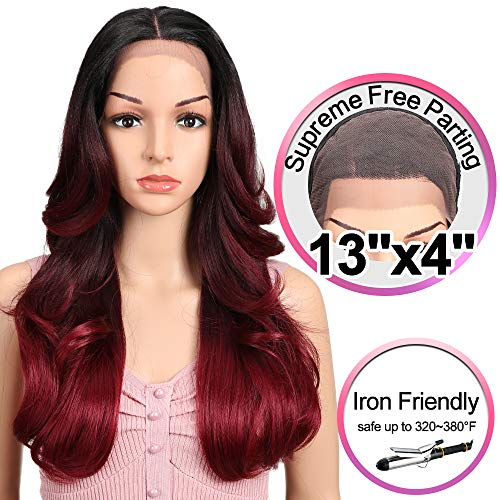JOEDIR 22 Big Curly Wavy Supreme Free Parting Lace Frontal Wigs With Baby Hair High Temperature Synthetic Wigs For Black Women 180% Density Wigs Ombre Color 250g(GT1B/530D/118)