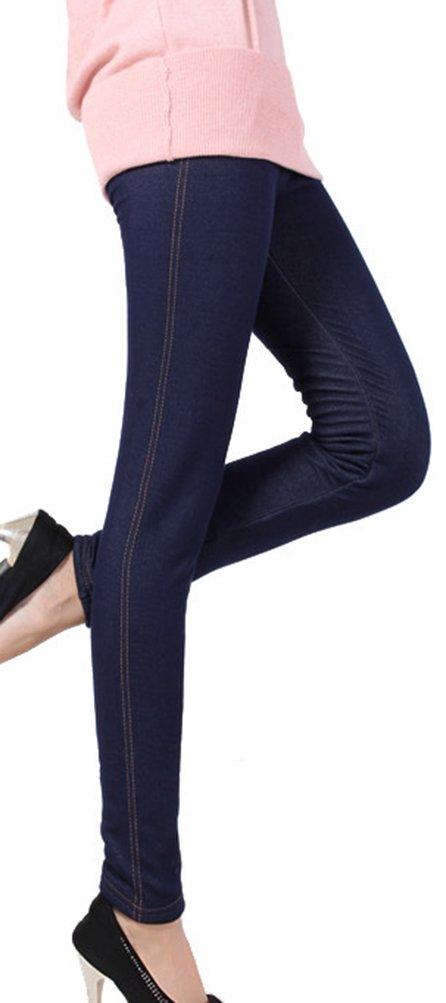 Lovful Women's Winter Warm Denim Legging Fake Jeans Thick Full Length Leggings Fleece Lined Jeggings,Dark Blue by Lovful (Image #4)
