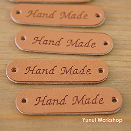 64b8e185e0e1 5pcs / 20pcs: Synthetic PU Leather Label Simple Hand Made Engraved Tag with  Holes 0.5