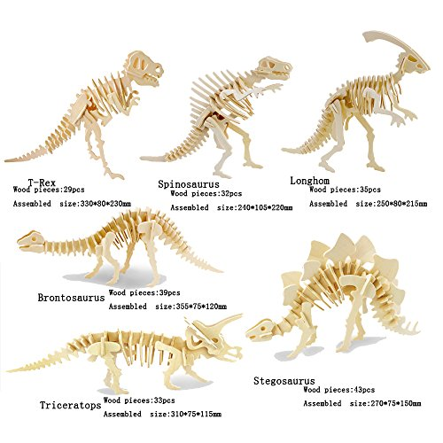 Wooden Kit Skeleton - 3D Wooden Animal Puzzle T-rex,Spinosaurus,Longhom,Brontosaurus,Tricerotops,Stegosaurus 3D DIY Assembly Model Gift Toy for Kids and Adults (6 Piece/Set)