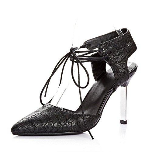 AllhqFashion Women's Solid Pu Spikes Stilettos Closed Toe Lace Up Sandals Black GdN7uoxdIZ