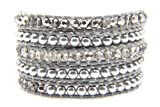 Silver & Clear Crystals Wrap Bracelet Genuine Grey Leather Handmade 5 Multilayer 4mm Beads Woven Bangle
