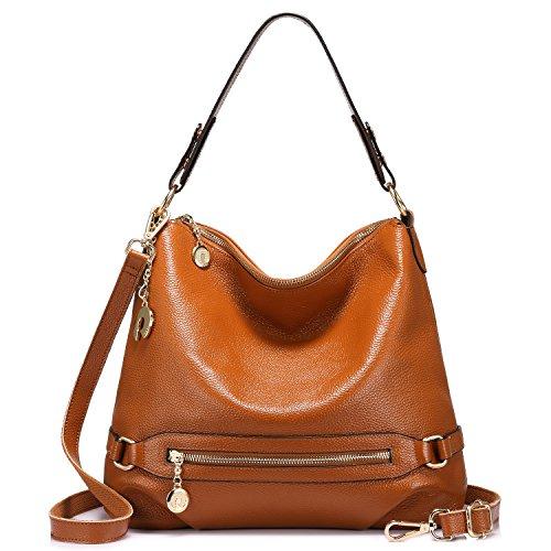Genuine Leather Handbags for Women Large Designer Ladies Shoulder Bag Bucket (Logo Bucket Handbag)