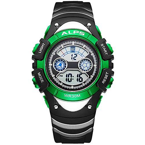 ALPS Kids Boys Girls MultiFunction Digital LED Waterproof Sport Watch(Green)