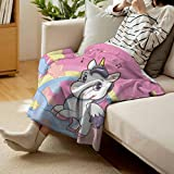 """Flyerer Teen Girls VelvetPlushBlanket Unicorn with Rainbow and Music Notes Clouds in The Sky Decorative Art Print HomeRoomBedroomBlanket 80""""x60"""" Pink Yellow"""