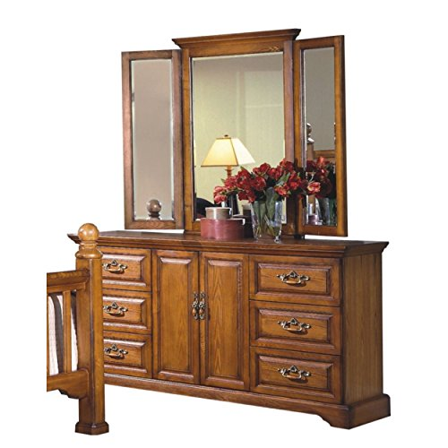 Haverhill Country 6 Drawer Dresser & Wing Mirror in Honey Oak Wood - Honey Oak Dresser