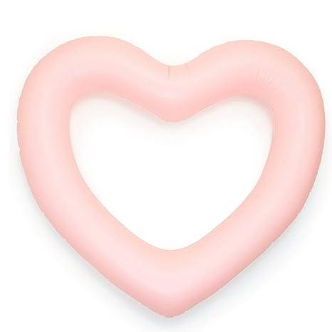 ED-Lumos Flotador Hinchable Grande Forma de Corazón Colchonetas Piscina 111CMx115CM Color Rosa
