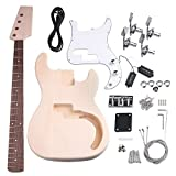 Yibuy Maple DIY Electric Guitar PB-01 Bass Body Neck Single Coil Pickup with Tuning Pegs Unfinished Set Accessories