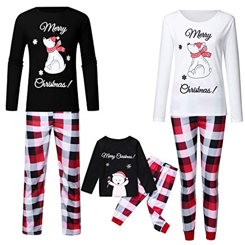 Family Matching Christmas Pajamas Set,Crytech Comfy Soft Cute Cartoon Snowman Smowflake Sleepshirt Top and Checkered Lounge Pant Parent Children Kid Xmas Holiday Sleepwear Pj Outfit (2X-Large, Mom)
