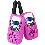 LeeKer LK-R018 Walkie Talkie for Kids 22CH LCD Display Flashlight VOX Function Two Way Radio Toys(Pink, 1 Pair)