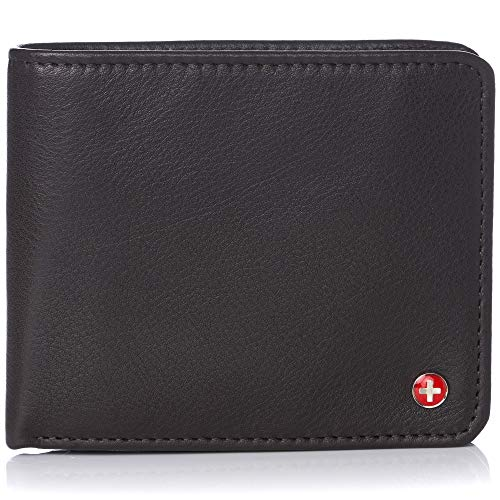 Alpine Swiss RFID Men's Wallet Deluxe Capacity Passcase Bifold With Divided Bill Section Soft Nappa Brown