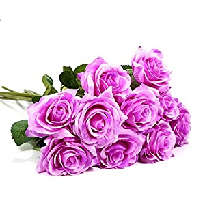 Wal front 10 Heads Artificial Rose Flowers, Bridal Wedding Bouquet for Home Garden Party Wedding Coffee House Floral Centerpieces Decoration(Purple) 61