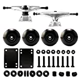 "VJ Skateboard Combo 5"" Trucks Silver, 52mm Skateboard Wheels, Abec7 Bearings, Screws, Riser Pads, Spacers (Black wheels)"